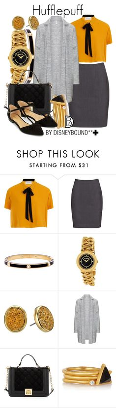 """""""Hufflepuff +"""" by leslieakay ❤ liked on Polyvore featuring Henri Bendel, Versus, Kate Spade, Betsey Johnson, Kevia, Accessorize, harrypotter and plussize"""
