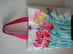hand painted canvas bag ..tulips