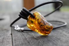 Amber Leather Mens Necklace Pendant Rustic Huge by DreamsFactory