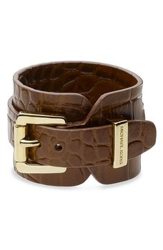 Michael Kors Leather Wrap Cuff