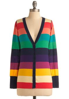 Greeting Rainbows Cardigan. You can go anywhere you'd like while remaining stylish and comfortable when you don this cheerful, rainbow-striped cardigan with a pair of jean shorts, cork wedges, and a racerback tank. #multi #modcloth