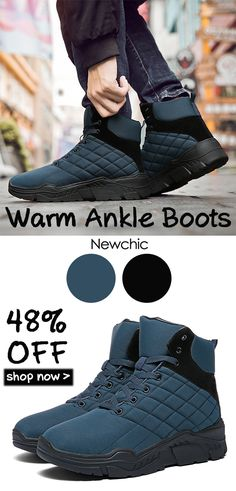 7994cf42c357 Men Waterproof Cloth Warm Lined Lace Up Casual Ankle Boots is fashionable