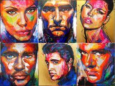 Celebrity portraits in beautiful colors World Art, Celebrity Portraits, Painting, Art, Design Art, Artsy, Contemporary Art, Portrait, Beautiful Art