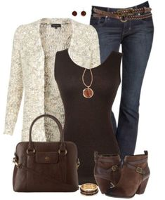 A fashion look from September 2014 featuring open front cardigan, lace shirt and express jeans. Browse and shop related looks. Mode Outfits, Casual Outfits, Fashion Outfits, Womens Fashion, Fashion Trends, Fall Winter Outfits, Autumn Winter Fashion, Spring Outfits, Country Girl Style