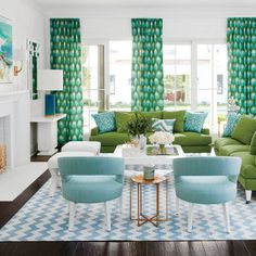 Blue and green are natural soul mates; they make this living room feel optimistic and energetic.