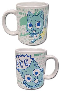 Fairy Tail: Happy Mug. Cute design. One mug. Image shows different sides.