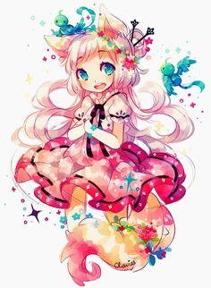 Manga Fille déguisée en renard au couleurs arc en ciel!