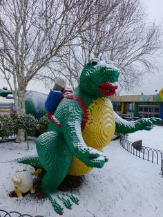 Our LEGO dinosaur woke up to a dusting of snow at the LEGOLAND Windsor Resort