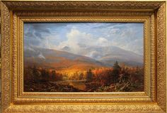 """""""Autumn Storn on Mt Washington,"""" Erik Koeppel, oil on canvas, 16 x 27"""", collection of the artist. From the Pinkham Notch base camp, cross the street, take the Lost Pond trail about 50 yds, cross the small bridge, climb along the bank to the left to see the view."""