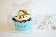 Cupcake Wrappers : 10 Tiffany Blue Baby Shower Favor Boxes with Ribbon on Etsy, $15.00