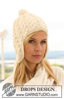 """Knitted DROPS hat with cables in """"Nepal"""". ~ DROPS Design"""