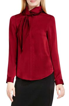 Vince Camuto Side Neck Scarf Blouse