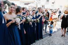 Intimate rustic vintage wedding on a quinta / villa in Alenquer, Portugal. Deep blue bridesmaid dresses look great on Ruben and Justine's wedding! Elopement destination wedding of your dreams. Planning by StudioVictorias Elope Wedding, Wedding Venues, Blue Bridesmaid Dresses, Wedding Dresses, Wedding Abroad, Destination Wedding Planner, Best Wedding Photographers, Stunning View, Deep Blue