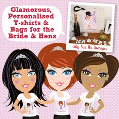 Personalised Bags & T-shirts from jollynicegifts.com for Hen Parties #Hen parties #personalised t-shirts #wedding