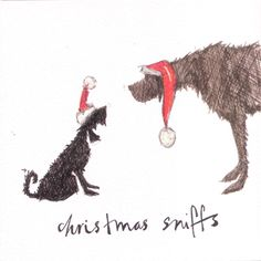 Christmas Sniffs, greeting card illustration by Sam Toft