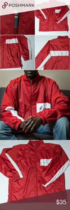 Red/white Men's Nike 3XLT lined windbreaker jacket Red/white Men's Nike 3XLT lined windbreaker jacket. Lined with red mesh. Nylon body. Polyester lining and insets. Drawstring waist. Front pockets. Nike Jackets & Coats Windbreakers