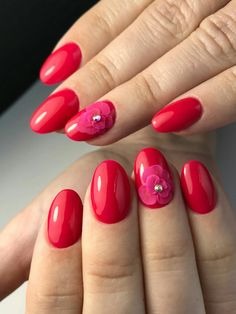 Red strawberry with hot pink flower With jewels nail art spring summer 2018