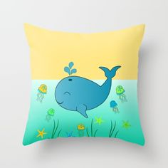 A #cute #pillow, perfect for your #child's #bedroom #whale #illustration #ocean