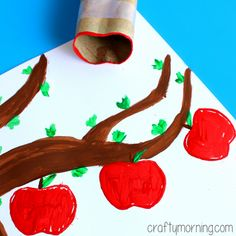 Learn how to make apple stamps using a toilet paper roll! It's a fun fall art project for kids to make.