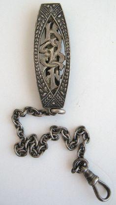 Repousse Sterling  Watch Chain 925 Silver HBF Monogram Antique Vintage Art Deco #NoBrand