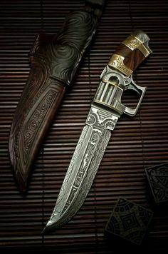 Engraved Damascus dagger