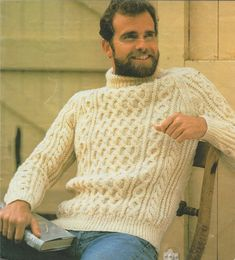 Mens Aran Sweater Knitting Pattern PDF Mans 46 inch chest, Cable Stitch Jumper, Vintage Knitting Pattens for Men Knitting Terms, Aran Knitting Patterns, Vintage Crochet Patterns, Vintage Knitting, Sweater Patterns, Knitting Yarn, Aran Jumper, Cable Sweater, Men Sweater