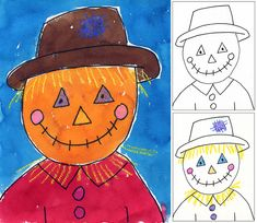 You searched for label/fall · Art Projects for Kids : Scarecrow Portrait - just for fun {Sharpie, crayon, watercolors} Fall Art Projects, School Art Projects, Projects For Kids, Classe D'art, October Art, November, First Grade Art, Fete Halloween, Kindergarten Art