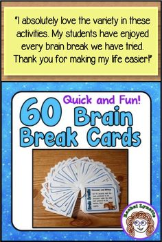 Brain Breaks to get all of your students up and moving. Quick, easy, and super fun! Even older students love these. 60 different activities on easy-to-access cards. Middle School Classroom, New Classroom, Kindergarten Classroom, Classroom Behavior, Classroom Management, Behavior Management, Classroom Icebreakers, Social Emotional Learning, Social Skills
