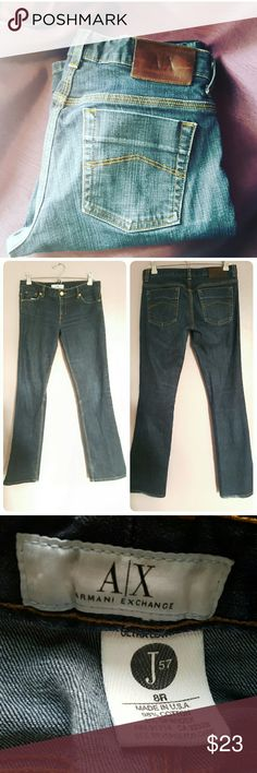 Armani Exchange  Jeans J57 8R Very fashion forward boot cut,  dark wash jeans.  98% Cotton, 2% Spandex Armani Exchange Pants Boot Cut & Flare