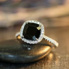 Black Spinel Halo Diamond Engagement Ring in 14k White Gold Pave Diamond Wedding Band 8x8mm Cushion Cut Black Spinel Gemstone Ring