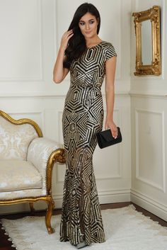 Cynthia Gold and Black Sequin Open Back Maxi Dress