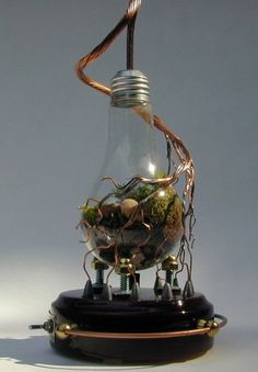 Steampunk Light bulb Terrarium love the way the separate the wire and make sculpture out of it.and 9 other planters created from old light bulbs. Mini Terrarium, Light Bulb Terrarium, Arte Steampunk, Steampunk House, Steampunk Fashion, Steam Punk Diy, Art Plastic, Recycled Light Bulbs, Steampunk Accessoires