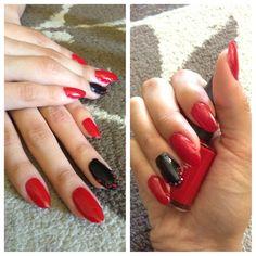 Stiletto acrylic nails with Swarovski crystals