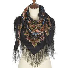 Russian Styled Pavlovo-Posad 80 /% Wool Shawl Scarf Wrap Silk Fringe 95 cm x 95 c
