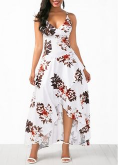 Beautiful Women Overlap Flower Print White Slip Dress , Nice for summer outfit / beach style Trendy Dresses, Tight Dresses, Women's Fashion Dresses, Sexy Dresses, Cute Dresses, Dress Outfits, Casual Dresses, Summer Dresses, Long Dresses