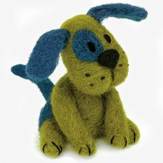 "Dimensions lets you create 3-D creatures with our fun needle felting kits—easy enough for a beginner! Whether you call him Duke, Rover, or Beauregard, you can make this whimsical Green Puppy using easy freeform needle felting techniques and simple embroidered details. No molds needed! Finished size: 3"" x 2.5"". Needle felting kit includes: • 100% wool roving• Felting needle• Felting mat• Cotton thread• Embroidery needle• Easy photo-illustrated instructions…"