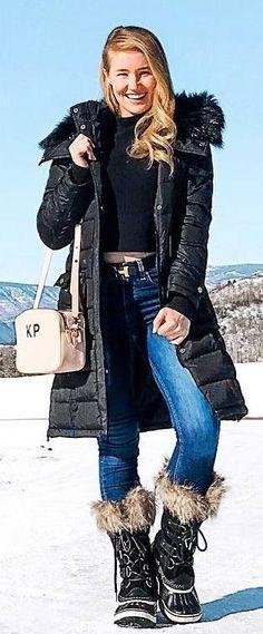 #winter #outfits black top, jeans, black long coat, black boots, pastel bag