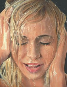 Portrait with Water Hyperrealism, Contemporary Art, Portrait, Artist, Instagram Posts, Fictional Characters, Drawing, Water, Illustration