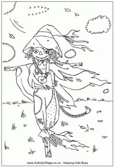 """iColor """"Halloween II"""" ~ Wind Dancing... Love how the artist incorporated """"the wind."""" I love stretching out my arms in the wind too...I can feel her spirit in me...Rock on sweet sister scarecrow!!  (There are days I think I look like her too!)"""