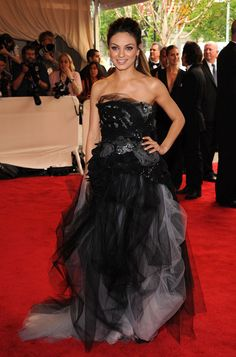 Vera Wang grey and black tulle layered ball gown with strapless, sequinned bodice and floral gathering at waist