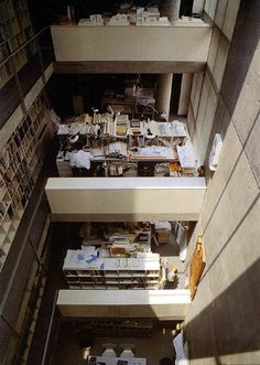 Tadao Ando / Atelier in Oyodo, Osaka Japan Architecture, Modern Architecture Design, Minimalist Architecture, Architecture Office, Minimalist Interior, Architecture Photo, Tadao Ando, Arch Interior, Studio Living