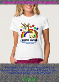 YEMUSEED Funny Unicorn Rainbows T-Shirt Summer Harajuku Cartoon T Shirt Womens Fashion Novelty Short Sleeve Tee Tops WMT328