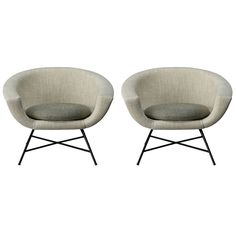 Pair of armchairs 58 by Dangles & Defrance - Burov edition - 1958 | From a unique collection of antique and modern armchairs at https://www.1stdibs.com/furniture/seating/armchairs/