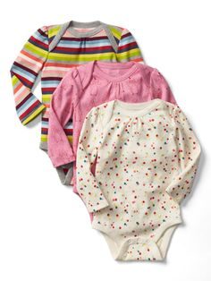 My favorite clothes for newborns were baby gap, gymboree, hanna andersson (thanks Peggy!) and zutano. Carters has some cute sleepers, but they shrink over time. I preferred these other brands. I especially liked these three pack body suits, and they have pants to match from gap. They lasted a long time and washed nicely.