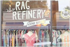 The Rag Refinery vintage clothing store located on 3904 Lorain Avenue Cleveland, OH 44113 Vintage Boutique, Vintage Shops, Spa Interior, Vintage Trends, Store Windows, Retail Space, Store Displays, Boutique Design, Store Design