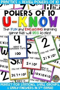 Students love playing U-Know games for fun REVIEW of powers of 10 or for test prep. It's a perfect activity for any small group or station, and great for early finishers. Powers of 10 U-Know is a fun learning game played similar to UNO except if you get an answer wrong, you have to draw two! Students will beg to practice finding powers of ten in this way! Available in MANY other topics, too!