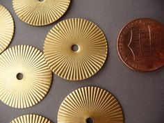 Brass Fluted Ridged Round Pendants Charms Medaillons by BlueLadore