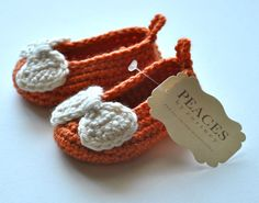 Orange & White Bow Baby Shoes -- infant shoes baby