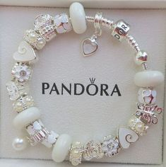 Authentic Pandora Sterling Silver 925 ALE Bracelet with European Beads and Charms Winter White F1 on Etsy, $99.00 #pandorajewelry