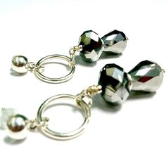 Silver Earrings with Metallic Crystals by cdjali on Etsy, $12.00